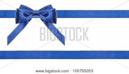 Blue Satin Bows And Ribbons Isolated - Set 20