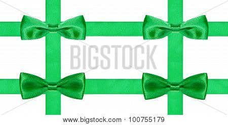 Four Big Green Bow Knots On Four Satin Ribbons