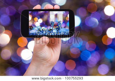 Photo Xmas Still Life On Dark Violet Background