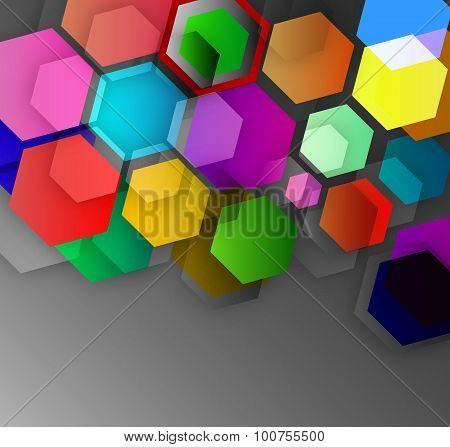 Abstract Background Of Colored Cubic Hexagons