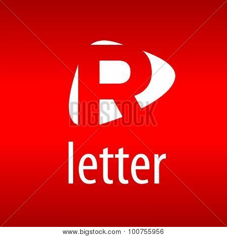 Abstract Vector Logo Letter R On A Red Background