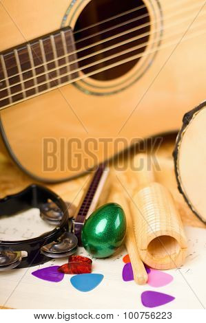 Vertical Photo Of Egg Shaker Among Other Instruments
