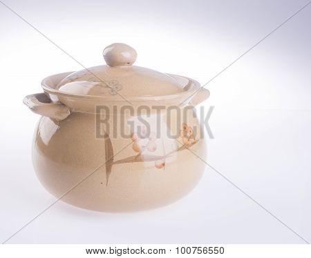 Pot, Ceramic Food Pot On Background.