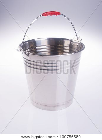 Bucket or Metal Bucket On Background.