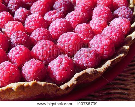 Tart with raspberries and chocolate cream custard