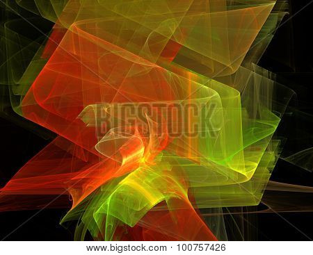 Abstract fractal background yellow and orange varicolored