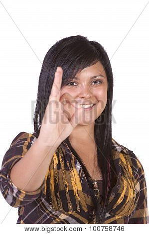 Beautiful Girl Giving The Ok Sign