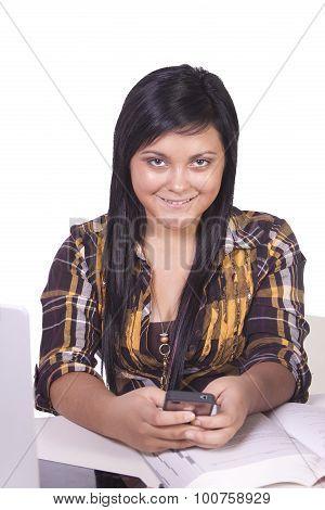 Concerned Teenage Girl Texting