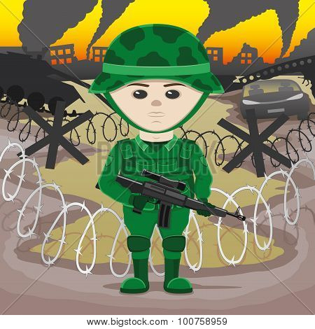 A soldier with a gun
