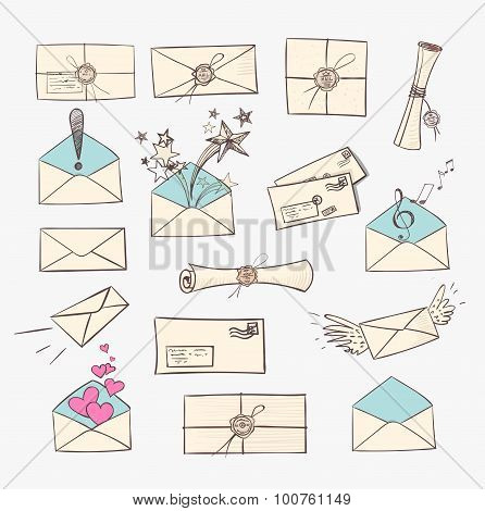 Mail icons.  Vector sketch illustration.