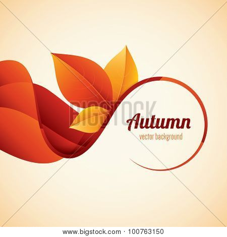 Vector autumn background. Modern orange leaves design.