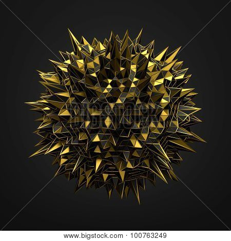 Abstract 3D Rendering of Gold Chaotic Surface.