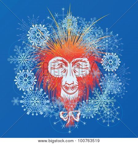Japanese Macaque And Snowflakes