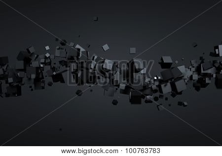 Abstract 3D Rendering of Flying Cubes.