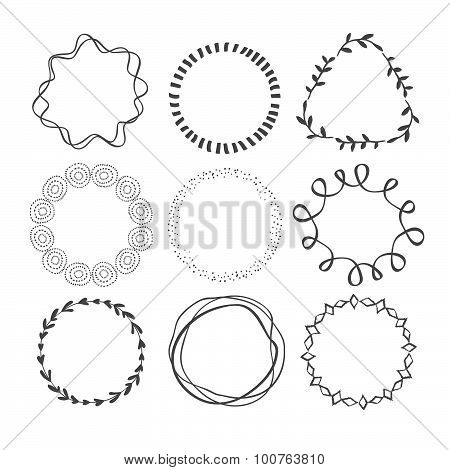 Set of Circle Scribble Frames.