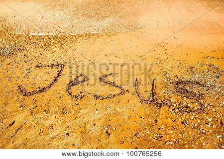 Jesus, Written On A Sandy Beach.