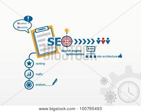 Seo Internet Concept And Notebook.