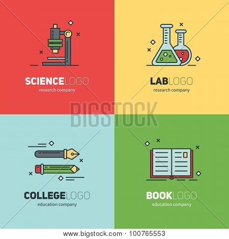 Thin Lined Set Of Logos For Scientific Research And Education