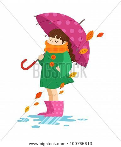 Autumn Cartoon Girl Holding An Umbrella