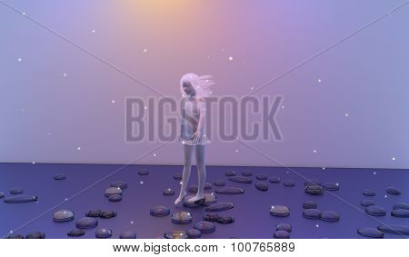 Girl With White Hair Dream Walking Over Flat Stones On A Calm Blue Sea, Stars Are All Over The Pictu