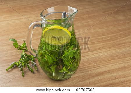Fresh homemade mint tea.