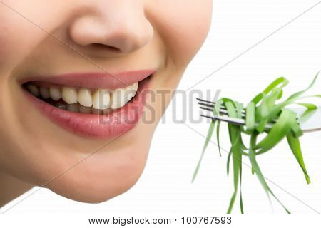 Smiling Woman With Fork And Wheatgrass, Isolated On White.