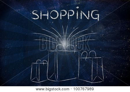 Shopping: Boutique Shopping Bags With Retro Rays