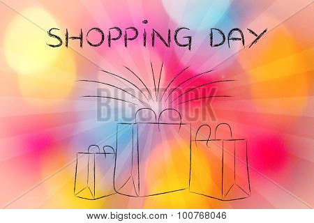 Boutique Shopping Bags With Retro Rays And Shopping Day Text