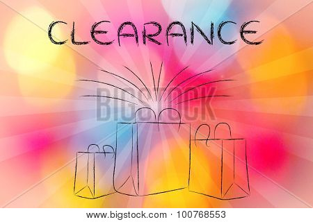 Boutique Shopping Bags With Retro Rays And Text Clearance