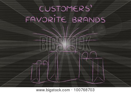 Boutique Shopping Bags With Retro Rays And Text Customers' Favorite Brands