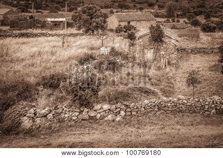 rustic houses and stone walls - Villar de Farfon ancient village, Zamora, Spain