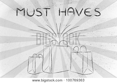 Must Haves (shopping Bags And Retro Rays)