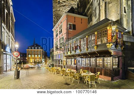 Ratskeller And Town Hall In Aachen At Night