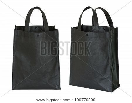 Black Shopping Bag Isolated On White