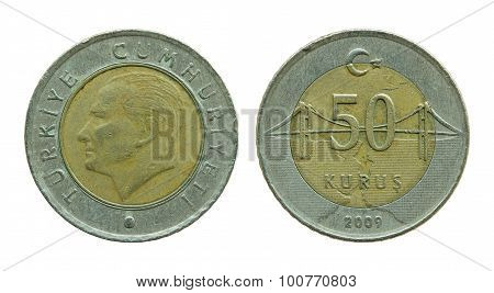 Turkish Fifty Kurus Coins Isolated On White
