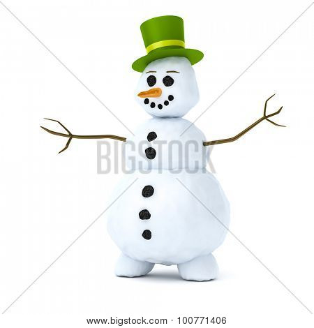 An image of a snowman with a green hat