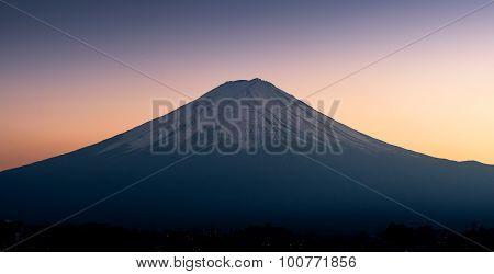 The Mountain Fuji at Lake Kawaguchi At Sunset