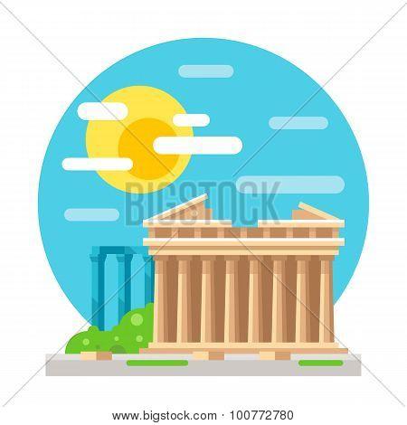 Parthenon Flat Design Landmark