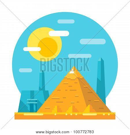Pyramid Of Giza Flat Design Landmark