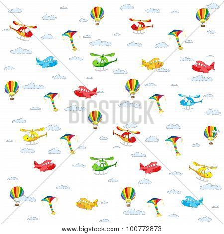 Seamless Texture With Cartoon Transport. Helicopter, Aircraft, Balloon And Kite In Cloudy Sky. Vecto