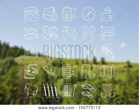 Travel and camping icons set on blurred vector background. Abstract smooth colorful illustration