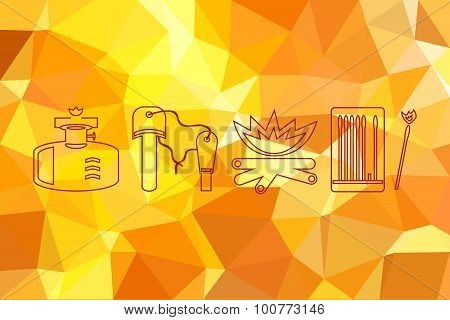 Fire icons set on flame fire background. Abstract geometric background with triangular polygons.