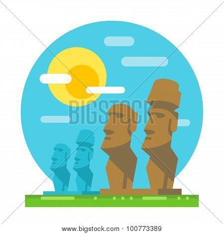 Moai Statue Flat Design Landmark