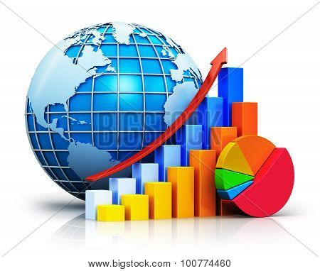 Growing bar graphs, pie chart and Earth globe