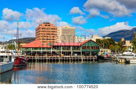 Franklin wharf in the downtown of Hobart City. Australia