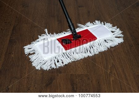 The Mop On The Parquet Floor During Cleaning