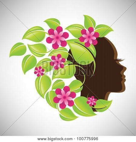Vector illustration of abstract Beautiful woman silhouette in profile with colorful floral hair
