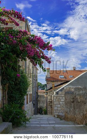 medieval street in the old town of Hvar, Croatia