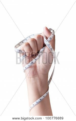 Woman Hand Fist With Measuring Tape