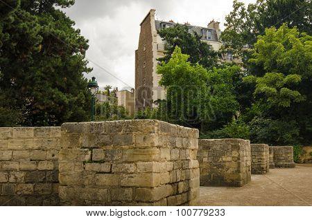 Ancient remains of Arenes de Lutece in Paris